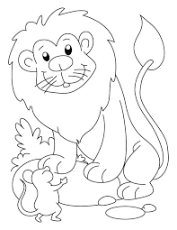 A Lion And Mouse Coloring Page
