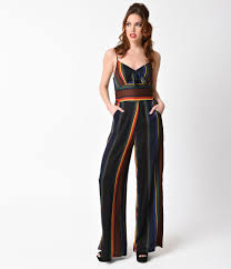 Voodoo Vixen 1970s Style Black Rainbow Striped Vivian Jumpsuit