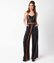 Voodoo Vixen 1970s Style Black Rainbow Striped Vivian Jumpsuit