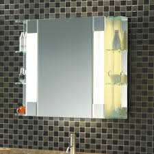 bathroom mirror cabinet w led lights adjustable shelves