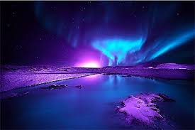 Auroras Purple and blue northern lights Auroras reflections