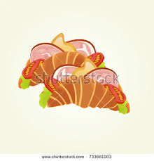 Croissant Ham Cheese Sandwich Isolated Vector Illustration