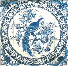 magnificent portuguese blue and white ceramic tile peacock mural