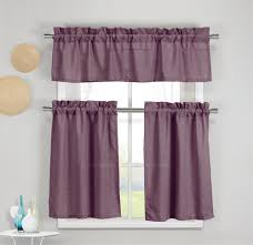 3 Piece Faux Cotton Plum Purple Kitchen Window Curtain Panel Set