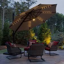11 LED Solar Round Offset Umbrella By Seasons Sentry