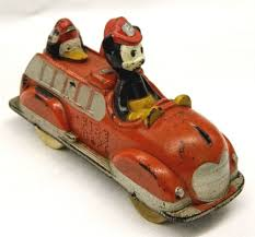 100 Mickey Mouse Fire Truck Vintage Walt Disney Productions MICKEY MOUSE Sun Rubber