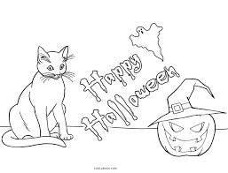 Coloring Pages Halloween Cat And Pumpkin Pictures Hello Kitty Printable