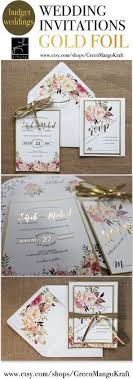 GOLD FOIL WEDDING INVITATIONS Rustic Wedding Invitation Suite Blush Pink Watercolor Floral Invite Bohemian Set