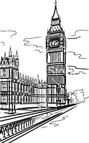 London Clock Tower And Thames River Coloring Pages