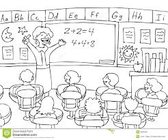 Children In Classroom Clipart Black And White ClipartXtras