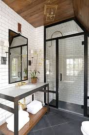 contemporary 3 4 bathroom with complex marble counters high