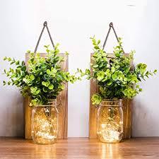 jar licht 2 stück flur deko anddekoration grüne gefälschte pflanze lichterkette im glas wohnzimmer holz dekoration mit glas warmweiß