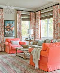 Coral Color Interior Design by Living Rooms Woven Blinds Striped Rugs Coral Upholstery Floral