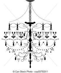 Elegance Vintage Chandelier Vector Clip Art