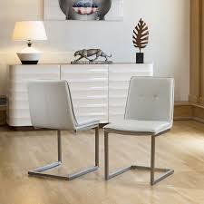 Set Of 2 Ultra Modern Low Back Faux Leather Dining Chairs In Ice Gey ... White Ultra Modern Ding Table Wtwo Pedestal Legs Glass Top Classic Chair Room Ideas Chair Chairs Set Of 2 Grey Faux Leather Z Shape C Base Wade Logan Cndale Midcentury Upholstered Set Classics Contemporary Brindle Finish Artsy Tables Kitchen And Chairs Bal Harbor Taupe Pier 1 Gloss Black Fabric Designer Breakpr Luxury Apartment Designs For Young Criss Cross In Espresso Room