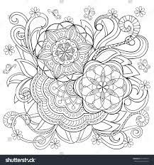 Hand Drawn Monochrome Print With Doodle Flowers And Mandalas Boho Style Image For Adult