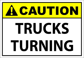 Caution Turning Trucks - SafetyKore.com Two Blank Highway Signs Overhead Trucks On Road Transport Concept Fork Lift Operating No Pedestrians Signs From Key Uk Sound Horn Calgary Car Door Magnets Truck Van Magnetic Orange County Company Logo For Trucks With A Driving Cab Manufacture Stock Health Safety De Riding On Forklift Is Forbidden Symbol Occupational Caution Sign 200 X 300mm Rigid Signage Bandit Auto Tyres Fork Lift Operating Sticker And