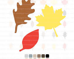 Digital Leaf Fall Leaf Clipart Leaf Silhouette Leaves Color Pack Leaf Leaves
