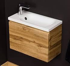 quentis waschplatzset faros breite 50 cm waschbecken und unterschrank holzdekor eiche natur waschbeckenunterschrank montiert