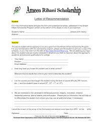 Writing A Letter Of Recommendation For A Student For Scholarships