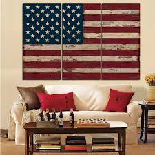 3Panel American USA United States of America Flag Canvas Wall Art