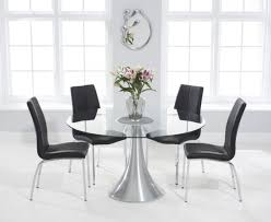 Paloma 135cm Round Glass Dining Table With Cavello Chairs ...