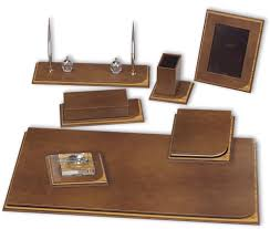 Leather Desk Blotters And Accessories by 760 Curvy Deri Ve Ağaç Sümen Takımı Tabac Luxury Desk Sets And