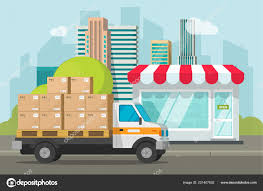 100 Delivery Truck Clipart Truck Loaded With Parcel Boxes Near Store Vector