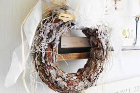 Rustic Christmas Wreath Door Holiday Decoration Frosted