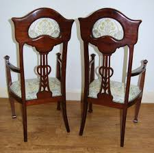 Stunning Set Of Six Art Nouveau Inlaid Mahogany High Back Chairs (2 ... Set Of 4 Quality Art Nouveau Golden Oak High Slat Back Ding Chairs 554 Art Nouveau Ding Table And Chairs 3d Model Vintage 6 Antique French 1900 Walnut Nailhead Set 8 Edwardian Satinwood Beech Four Art Nouveau Louis Majorelle Ding Chairs Jan 16 2019 Room And Sale Mid Century Hand Made Game By Terry Bostwick Casa Padrino Luxury Dark Brown Cream 51 X Round In The Unique Timeless Tufted Armchair Chair Blue Velvet Navy 1900s Vinterior