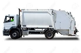 White Garbage Truck Isolated With A Driver Stock Photo, Picture And ...