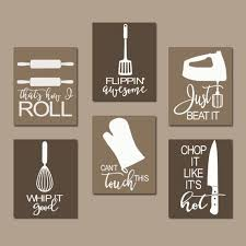 KITCHEN QUOTE WALL ART FUNNY UTENSIL PICTURES CANVAS OR PRINTS JUST BEAT IT HOW I ROLL DINING ROOM DECOR SET OF 6 CHOOSE YOUR COLORS