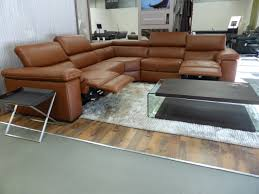 natuzzi editions panama power corner sofa tan leather furnimax