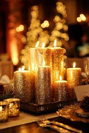 Gold Glitter Candles Wedding Centerpiece