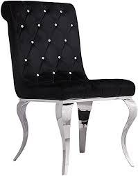 chrom stuhl esszimmerstuhl eßzimmer schwarz polsterstuhl