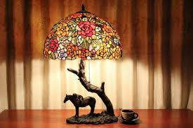 Home Depot Tiffany Floor Lamps by Unique Horse Under Tree Tiffany Stained Glass Table Lamp Id Lights