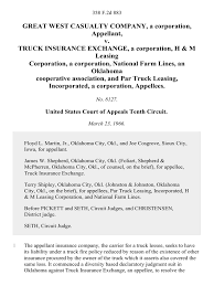 100 Truck Insurance Companies Great West Casualty Company A Corporation V