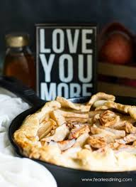 A Gluten Free Honey Apple Galette In Cast Iron Skillet Sign That Says