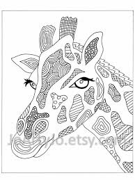 Zentangle Elephant Coloring Pages Adult Giraffe