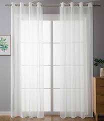 2er set ösenvorhänge transparent uni gardine hxb 225x140 cm weiß stores vorhang ösen bleibandabschluß wohnzimmer 20332 cn2