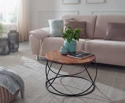 couchtisch sheesham massivholz metall 60 x 40 x 60 cm wohnzimmertisch rund massiv braun sofatisch modern holztisch tisch wohnzimmer industrial