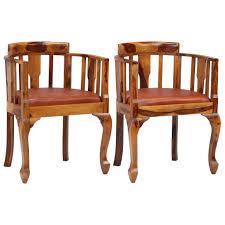 vidaxl esszimmerstühle 2 stk echtleder und massivholz gitoparts