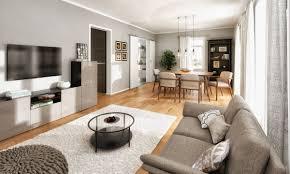 modernes wohnzimmer farben grau weiß holz ideen