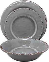 Giannas Home 12 Piece Rustic Farmhouse Melamine Dinnerware Set Service For 4 Gray