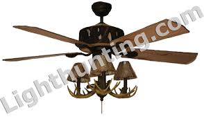 lodge ceiling fan with antler chandelier