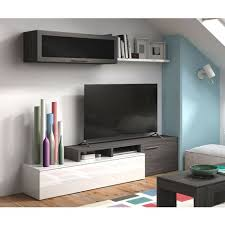 dmora wohnzimmer tv schrank mit hängeschrank und regal farbe aschgrau mit details in glänzendem weiß 44 x 200 x 41 cm