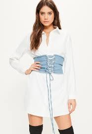 white shirt denim detachable corset detail dress missguided