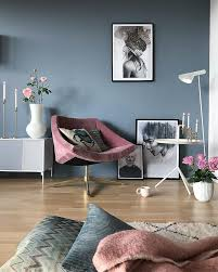 gray blue walls and accessories in the living room