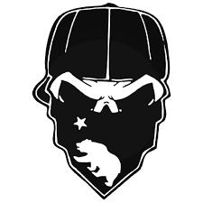 Gangster Thug California Bear Skull Decal Sticker