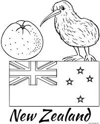 Coloriage Nouvelle Zellande Drapeau Kiwi JeColoriecom